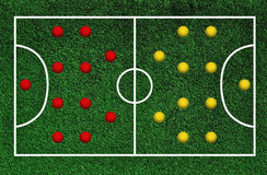 Green football pitch Royalty Free Stock Photography