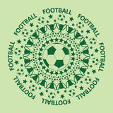 Green football rubber stamp or mandala. Green football rubber stamp with text football, soccer mandala Royalty Free Stock Images