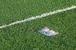 Green football soccer field Royalty Free Stock Photo