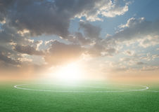 Green football soccer field with the blue sky Royalty Free Stock Photo