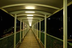 Green footpath overpass for pedestrian Royalty Free Stock Photography