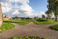 Green footpath in the park of Acquedotti. Rome (Italy royalty free stock image