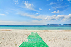 Green footpath in a white beach Stock Photo