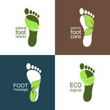 Green footprint icons with leaves Royalty Free Stock Photos
