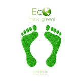 Green footprint made from grass. Think Green. Ecol. Fully  EPS 10 Vector Format Royalty Free Stock Photo