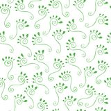 Green footprints. Vector seamless pattern of swirls and leaves on a white background Stock Images