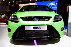 Green Ford Focus at Moscow International exhibitio Royalty Free Stock Image