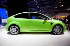 Green Ford Focus at Moscow International exhibitio Royalty Free Stock Photos