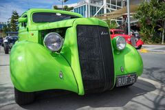 Green Ford hotrod. A customized green hotrod on display during the Gold Coast Hot Rod Cars show held in Robina in Australia. The show was held last August 2015 Royalty Free Stock Images