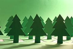 Green forest. Photo of a green paper forest stock images