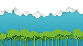 Free Green Forest And Blue Sky Paper Art Style Stock Images - 110993904