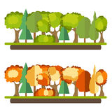 Green forest, autumn forest, leaves. Green forest, autumn forest. Flat design, vector illustration, vector royalty free illustration