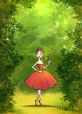 Green forest background with a dancing girl Stock Images
