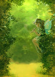 Green forest background with a fairy. Mised media illustration of a green forest with a fairy royalty free illustration