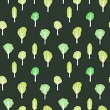 Green forest background. Seamless trees vector illustration Stock Photography