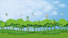 01.Green forest and blue sky paper art style stock illustration