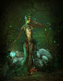 Green Forest Elf at Night, 3d CG Stock Photo