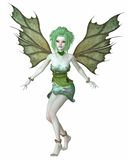 Green Forest Fairy. Forest fairy with green leaf hair and wings dressed in petals and leaves, 3d digitally rendered illustration stock illustration