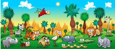 Green forest with funny wild animals royalty free illustration
