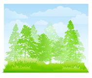 Green Forest and Grass Background. An background illustration featuring a green forest and grassy field landscape with blue sky and clouds Royalty Free Stock Photos