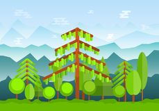 Green forest landscape with high foggy mountains on background vector illustration