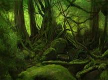 Green forest landscape stock illustration