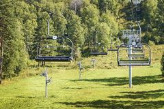 Green Forest. Rise on cable car. Beautiful landscape Royalty Free Stock Images