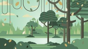 Green forest silhouette nature landscape abstract background fla. T design.Vector illustration Stock Illustration