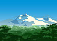 Green Forest With Snow Mountains. Vector illustration of a green forest with snow mountains behind the forest Stock Photo
