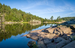 Green forest and stone shores at Karelia islands. Stock Image