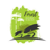 Green forest trees vector eco poster Royalty Free Stock Photos