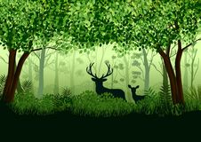 Green forest with wild elk in forest. Illustration of Green forest with wild elk in forest royalty free illustration