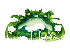 Green forest and wildlife with nature background layers paper ar. Save the world with ecology and environment conservation concept.Green forest and deers Stock Photos