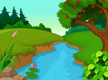 Green forest for you design with river Royalty Free Stock Photos