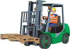 Green Forklift Truck Royalty Free Stock Images