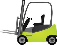Green forklift on white background. Vector Stock Images