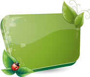 Green form with leaves and ladybug Stock Photos