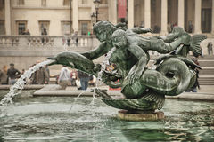 Green fountain. Beautiful fountain situated on Trafalgar Square Royalty Free Stock Photos