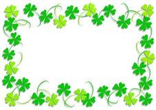 Green four leaf clover. Frame of green four leaf clovers Stock Image