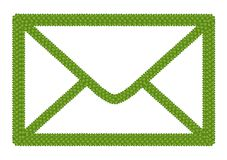 Green Four Leaf Clover of Envelope Icon Royalty Free Stock Images