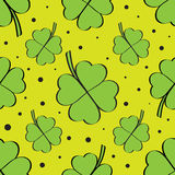 Green four leaf clover seamless pattern Stock Photo