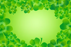 Green four leaf clover / shamrock border frame background Royalty Free Stock Images