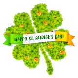 Green four-leaf clover shape filled with little clovers with golden coins and Happy St Patrick Day on Irish flag banner. Green vector four-leaf clover shape Royalty Free Stock Images