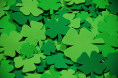 Green four leaf clovers. In different shads of green Royalty Free Stock Photos