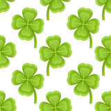 Green Four Leaf Clovers Seamless Pattern Stock Photo