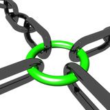 Green Four Link Shows Connection and Togetherness Royalty Free Stock Images