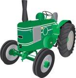 Green Four Wheeled Farm Tractor vector illustration