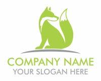 Green fox silhouette logo Stock Image