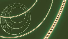 Green fractal background with neon shining lines and circles. Fractal background with neon shining lines and circles Royalty Free Stock Photos