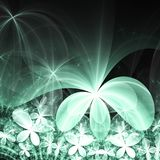 Green fractal flowers. Digital artwork for creative graphic design Stock Photography